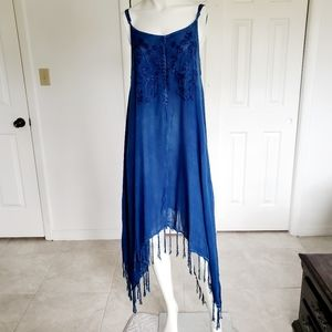 BEACH BY EXIST EMBROIDERED DRAPE DRESS blue OS